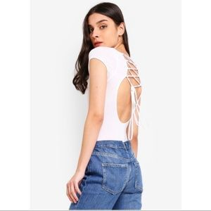 Free People All About The Back Lace Up Bodysuit M